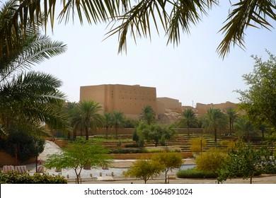 Riyadh, Saudi Arabia - February 19, 2018: Ruins of an old palace in Ad diriyah district seen from Al Bujairi Square in the capital of KSA