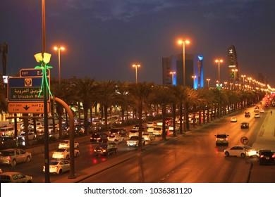 Riyadh, Saudi Arabia - February 22, 2018: Night shot of King Fahad Road in Riyadh city, the capital of KSA.