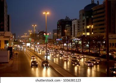 Riyadh, Saudi Arabia - February 22, 2018: Night shot of King Fahad Road near Cairo Square in Riyadh city, the capital of KSA.