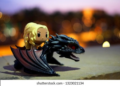 Riyadh / Saudi Arabia - February 22, 2019: Pop Funko toy based from HBO's Game of Thrones character Khaleesi or Queen Daenerys Targaryen riding Drogon.