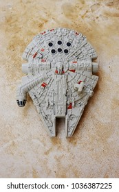 Riyadh, Saudi Arabia - February 26, 2017: Toy Millennium Falcon which is the spaceship of smuggler and rebel Han Solo from Star Wars