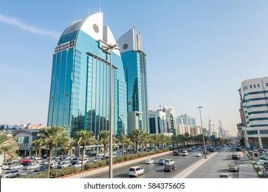 Riyadh, Saudi Arabia, January 11th, 2017, Twin building of Alinma Bank with symbol of fish, landmark of Riyadh, Saudi Arabia