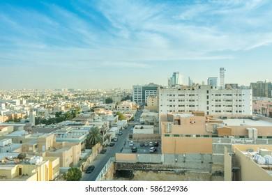 Riyadh, Saudi Arabia, January 12th, 2017, Aerial view of Riyadh with buildings and skylines