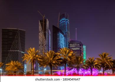 Riyadh - Saudi Arabia -January 18, 2020 Downtown - King Fahd Road - the most prominent landmarks in Riyadh