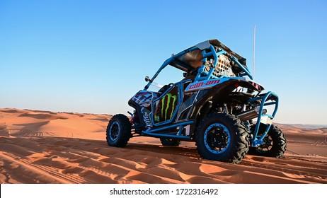 Riyadh, Saudi Arabia - January 24th 2020: All-terrain vehicle (SSV) in the action in the beautiful red sand desert in middle of Saudi Arabia near Riyadh city.