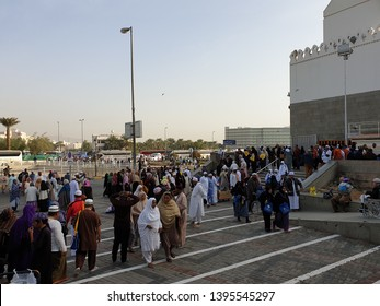 RIYADH, SAUDI ARABIA - JANUARY 30, 2019: Tourist at Quba Mosque, Quba Road, Al Bahr. Quba / Kuba Mosque, the first mosque that built in Medina by the prophet Muhammad.