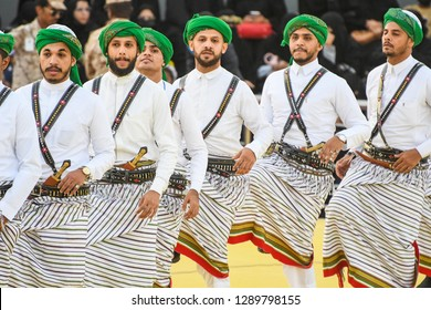 Riyadh, Saudi Arabia – January 5th 2019: Arabic people from Saudi Arabia perform traditional dance.