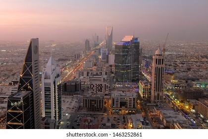 Riyadh / Saudi Arabia - June 10 2019: View from Faisaliyah Tower and Sunset