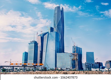 Riyadh, Saudi Arabia, KSA - December 02, 2017 new buildings being constructed in the new King Abdullah Financial District in Riyadh