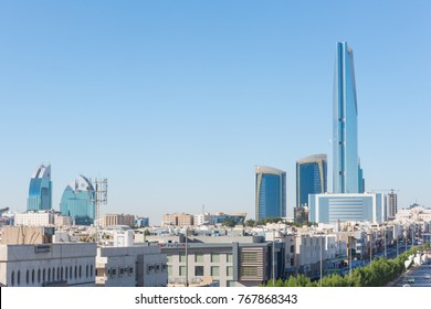Riyadh, Saudi Arabia, KSA - December 04, 2017 buildings and Kingdom tower in Uroba road in Riyadh