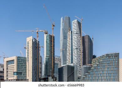 Riyadh, Saudi Arabia, KSA - Jun 09, 2017 new buildings being constructed in the new King Abdullah Financial District in Riyadh