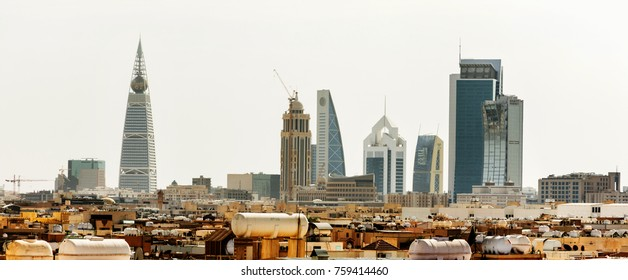Riyadh, Saudi Arabia, KSA - November 21, 2017 buildings group from Worood district and Uroba road in Riyadh
