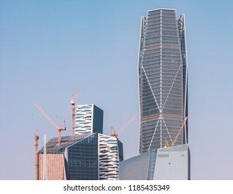 Riyadh, Saudi Arabia, KSA - September 22, 2018 new buildings being constructed in the new King Abdullah Financial District in Riyadh