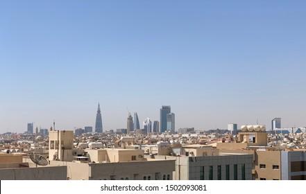Riyadh, Saudi Arabia, KSA - September 12, 2019 buildings group from Worood district and Uroba road in Riyadh