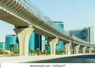 Riyadh, Saudi Arabia, KSA - September 06, 2017 new railway of Riyadh metro being constructed in Granada in Riyadh