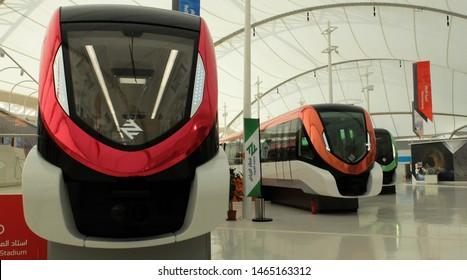 Riyadh / Saudi Arabia - March 09 2019: Visitor center of the Riyadh metro project by Riyadh Development Authority