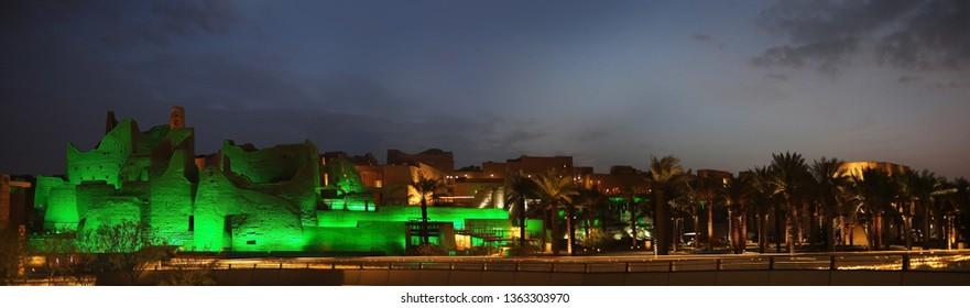 Riyadh / Saudi Arabia - March 15, 2019: Panorama shot of Al Diriyah ruins located in the banks Wadi Hanifa
