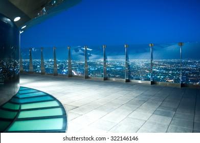 Riyadh, Saudi Arabia - November 14 2008:  Night view of the city from the Al Faisaliah tower terrace