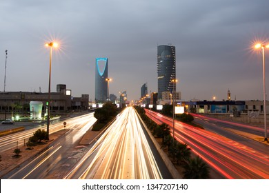 Riyadh, Saudi Arabia - November 23rd 2018: Riyadh City the capital of Saudi Arabia. View on the main strait King Fahd Str, and Kingdom Tower.