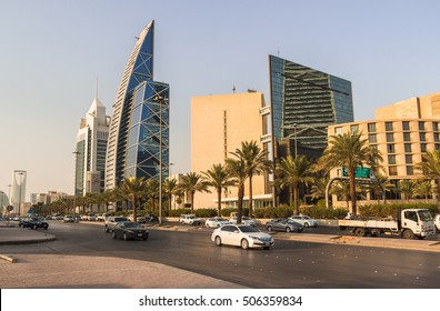 RIYADH, SAUDI ARABIA - OCTOBER 10, 2015. King Fahd's street road in Riyadh in daylight with skyscrapers and other buildings on the back