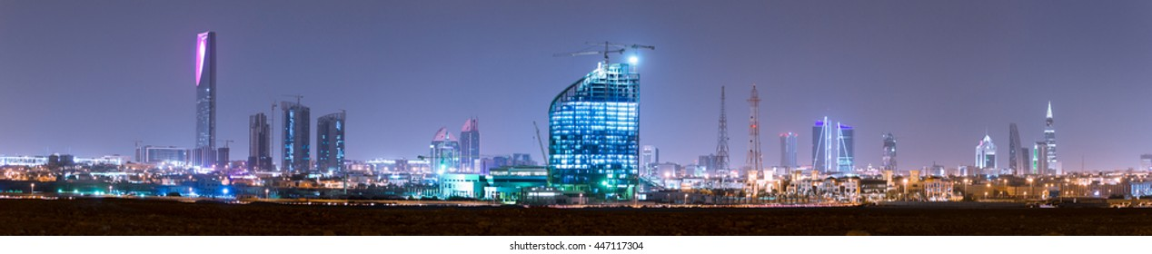 RIYADH, SAUDI ARABIA - OCTOBER 15, 2015: Outside distance skyline view on Riyadh Kingdom tower, Al Faisaliah and other business skyscrapers, full wide panorama