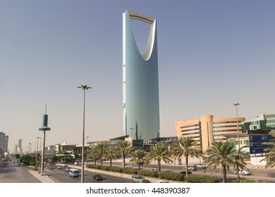 RIYADH, SAUDI ARABIA - OCTOBER 15, 2015. Skyline landscape view at Riyadh Kingdom tower in sunny foggy day, from street