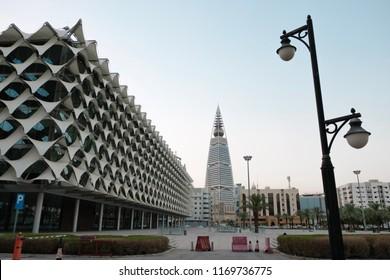 Riyadh, Saudi Arabia - September, 1 2018: A shot of King Fahd library and Faisaliah tower in the capital