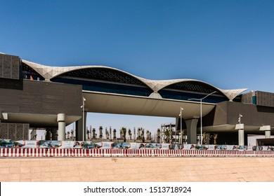 Riyadh, Saudi Arabia - September 20, 2019: Jeddah Road Station of the Riyadh Metro