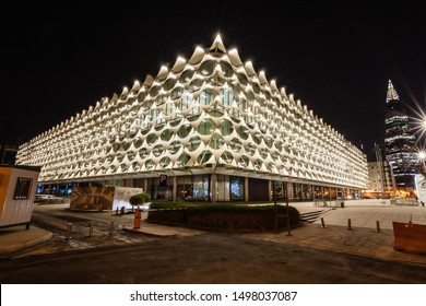 Riyadh, Saudi Arabia - September 3, 2019: King Fahad National Library and Al Faisaliyah Tower at night