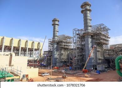 Riyadh, Saudi, KSA - Jan 30, 2018: Construction of a large combined cycle power plant in the Kingdon of Saudi Arabia