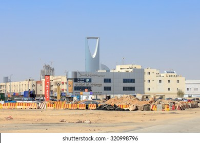 RIYADH, SAUDI-ARABIA - FEBRUARY 9, 2015: Metro Construction site in downtown Riyadh with the Kingdom Center