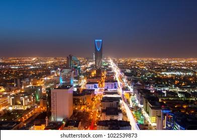 Riyadh skyline at night #1, Showing Olaya Street Metro Construction