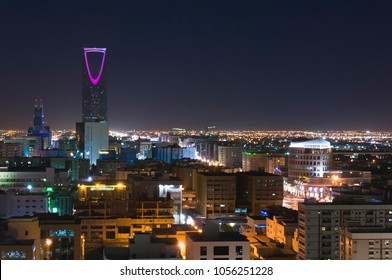 Riyadh Skyline at Night #11, with Kingdom Tower Lit in Purple, Saudi Arabia