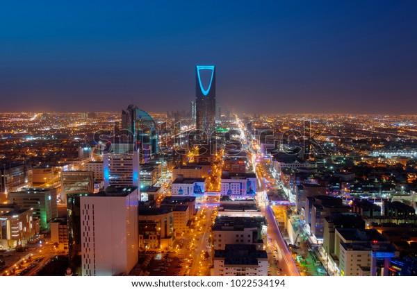 Riyadh skyline at night #2, Saudi Arabian Capital Modern Cityscape, Olaya Street Metro Construction, Cars Traffic Jam