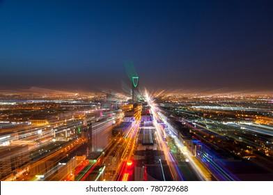 Riyadh skyline at night #4, zoom in effect