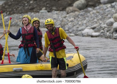 Rize, Turkey - August 11,2017 :Tourists who rafting on the river storm (Firtina Deresi) Rize, Turkey. Photo taken from Rize City, Turkey.