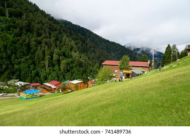 RIZE, TURKEY - AUGUST 16, 2016 : General landscape view of famous Ayder Plateau in Camlihemsin, Rize. Ayder Plateau has wide meadow area with wooden mountain houses at 1350 meters of height.