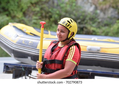 Rize, Turkey - August 24, 2017: Tourists who are rafting in the wind (Firtina Creek) Rize, Turkey. Photo taken from Rize City, Turkey