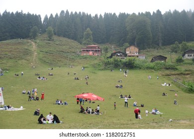 RIZE, TURKEY - AUGUST 31, 2018 : General landscape view of famous Ayder Plateau in Camlihemsin, Rize. Ayder Plateau has wide meadow area with wooden mountain houses at 1350 meters of height.