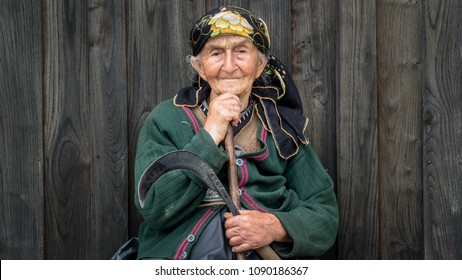 Rize, Turkey - July 2017: Portrait of an unidentified local woman from Blacksea Karadeniz region with her traditional outfit