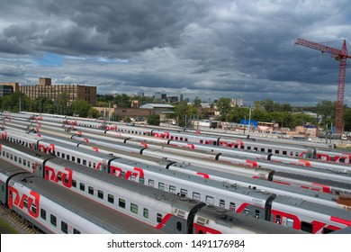Rizhskaya bridge/estakada, Moscow Rizhskaya train station,Moscow, Russia - July 4 2019 - close up view to branded cars on the Russian railway train station, view from above. editorial.