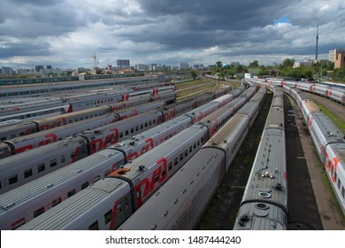 Rizhskaya bridge/estakada,Moscow Rizhskaya train station,Moscow, Russia-July 4 2019-Branded cars on the Russian railway train station, view from above. Siding with the second-class carriages.editorial