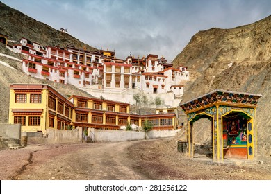 Rizong monastery with view of Himalayan mountians - it is a famous Buddhist temple in,Leh, Ladakh, Jammu and Kashmir, India.
