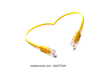 rj45 cable designed in heart shape on white background conceptual image