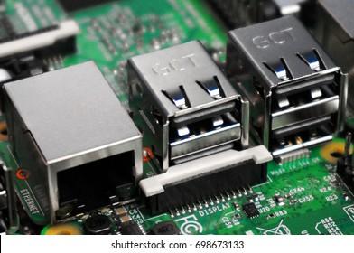 RJ45 and USB ports closeup on Raspberry Pi 3 board