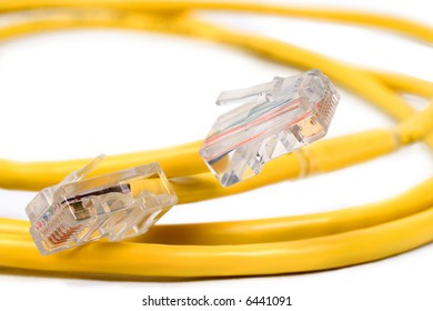 RJ-45M Connectors on Coiled Yellow Cat 5 Wire