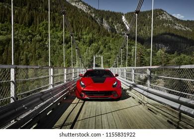 Rjukan, Norway. 04.06.2016: Ferrari f12 - engine 6,3 L,  V12 and 740PS