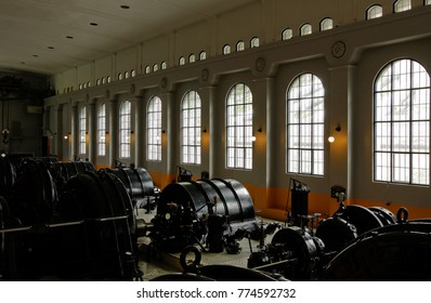 RJUKAN, NORWAY ON JULY 07. Interior of the Hydroelectric Power Plant on July 07, 2010 in Rjukan, Norway. Museum today, engine room