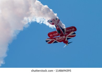 RNAS YEOVILTON, ENGLAND - July 07, 2018: A Pitts Special S-2 Biplane performing at the Yeovilton Air Day at RNAS Yeovilton, England