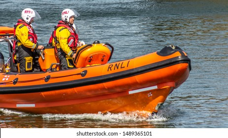 RNLI lifeboat station, the new Atlantic 85 Lifeboat, B-915 'The Missus Barrie' practise session on the 26-08-19 at Burry Port marina Carmarthenshire, South West Wales. UK